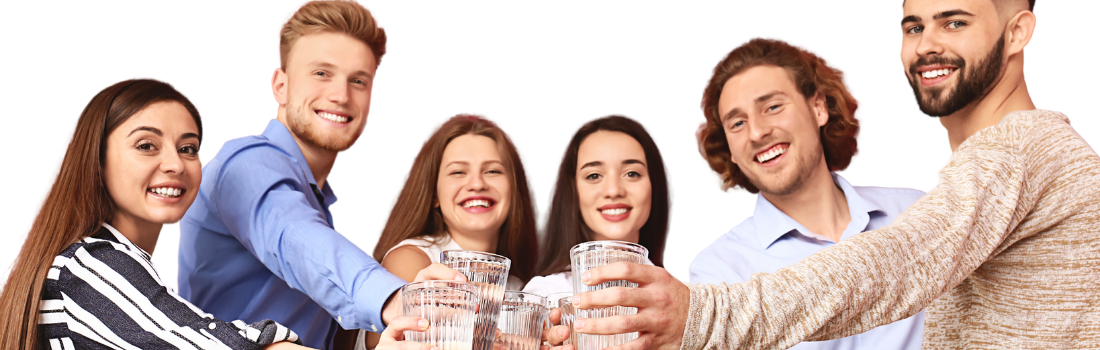 group of people with waters cheersing
